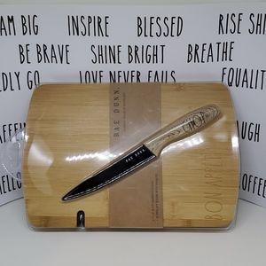 New RAE DUNN Bamboo Board & Knife Set Chop